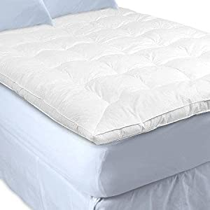 Sweet Jojo Designs White Goose Feather Topper and Down Baffle Box Featherbed Mattress Cover Top