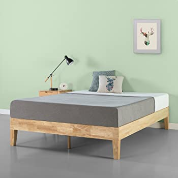 Zinus 14″ DeLuxe Slatted Wood Memory Foam Mattresses Frame