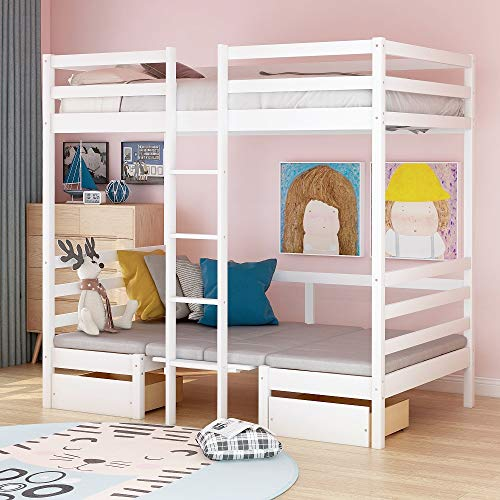 Twin Over Twin Bunk Bed, Convertible Dorm Loft Bed