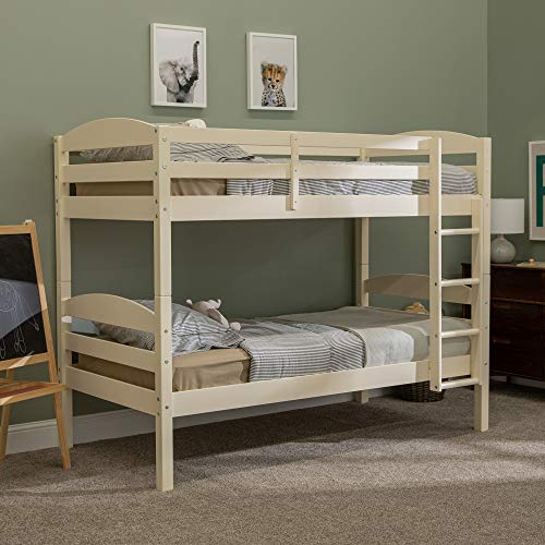 Walker Edison Furniture Company Wood Twin Bunk Kids Bed Bedroom with Guard Rail